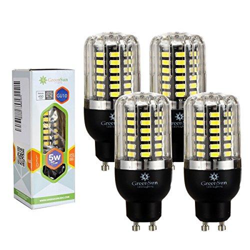 Led-energiespar-lampen (4×GreenSun 5W GU10 LED Energiespar Mais Birnen SMD 5736 Hochleistungs Lampen Kühles Weiß Wechselstrom 35W Glühlampe Equivalent)