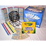 Gaming Concepts High-Value Bundled Packages! Complete Bingo Game Kit With Professional Bingo Cage, Balls, Paper, No-mess Crayola Washable Markers, Operation Instructions And Outstanding Game Play Options!