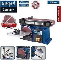 Scheppach Band und Tellerschleifer BTS 900 (Schleifmaschine mit 370W, 230V, 2850 min-1, Schleifteller Ø 150mm, inkl. 3x Schleifpapier und 3x Schleifband)
