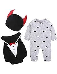 LITTHING Disfraz Halloween Bebé Murciélago Mameluco Calabaza Diablo Algodón 3 Piezas Ropa Capucha Conjunto Manga Larga