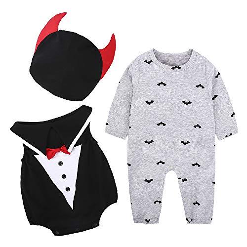 Litthing Baby Kleidungen Fledermaus Magier Dämonl und Kürbis Design Halloween Kostüm Unisex Strampelanzug Süßes Kinderkostüm mit Kapuze Bequemer Stoff geeignet für Kinder 6-24 Monate (A, ()