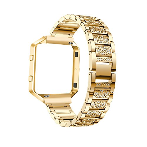 Yallylunn Replacement Stainless Steel Watch Band Strap with Metal Frame Kann Mit Kurzen ÄRmeln Kombiniert Werden Modisch for Fitbit Blaze