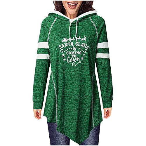 Zylione Weihnachtspulli Pullover Frauen Hoodies Pullover Mir Kapuzen Langarmshirts Santa Drucken Xmas Oberteile Shirt Bluse Asymmetrisches Sweatshirt