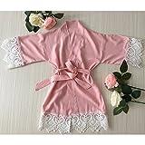 Erröten rosa Mädchen Robe - Baby Robe mit Spitzenbesatz-Blumenmädchen Robe-Blumenmädchen Geschenk-Baby-Dusche-Geschenk-Rayon Stoff