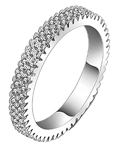 SaySure - Finger Eternity Ring Silver Plated Micro Inlay (SIZE : 7)