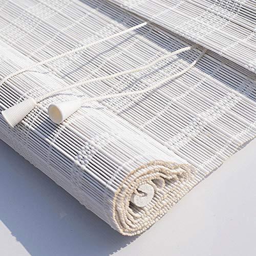 europäischer Stil Natürliches Bambusrollo Hand-Woven Bambus-Vorhang Lamellenfenster Römischer Vorhang Atmungsaktive Belüftung Dekoratives Zubehör Wärmedämmvorhang, weiß -