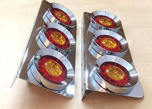 2 set luci a led triple rotonde da 24 v in acciaio inossidabile