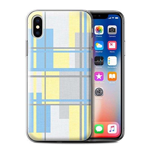 Stuff4 Gel TPU Hülle / Case für Apple iPhone X/10 / Heiß Strand Streifen Muster / Gelbe Mode Kollektion Stoff Textil