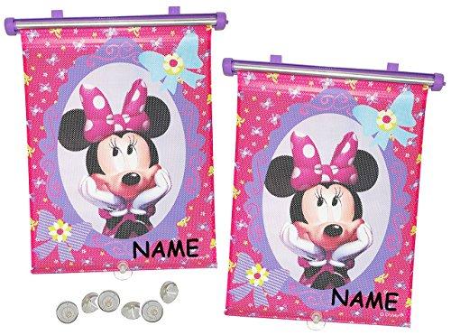 2 tlg. Set Sonnenschutz Rollo - Disney Minnie Mouse - incl. Namen - für Fenster und Auto Seitenscheibe - Sonnenblende - Mädchen Kinder Baby - Sonnenrollo - Maus Mäuse Schleifen - Rollos / Fensterblende - Sonnenschutzrollo