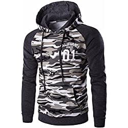 Jeansian Hombres Casual Camuflaje Printing Hoodie Hooded Sudadera Moda Sports Tops Outwear D728 Gray M