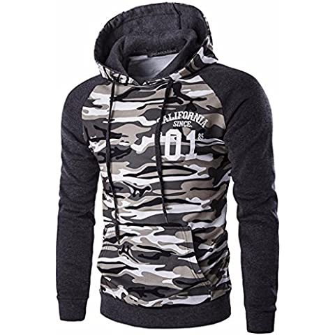 Jeansian Hombres Casual Camuflaje Printing Hoodie Hooded Sudadera Moda Sports Tops Outwear D728