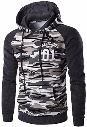 Jeansian Hombres Casual Camuflaje Printing Hoodie Hooded Deportiva Sud