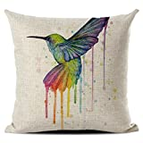 JOTOM Funda de cojín de Lino del algodón,Funda de Almohada Decorativa para sofá Cuadrado 45 x 45 cm (Pájaro