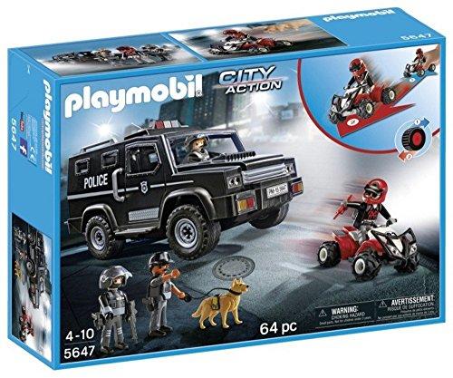 Playmobil City Action 5647 2015 Polizei SUV mit 2 Polizisten Hund und Ganove auf Trike 4-10 Jahre