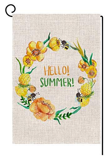 Hello Summer Kranz kleine Garten-Flagge, vertikal, doppelseitig, 31,8 x 45,7 cm, gelbe Blumen, Jute, Gartendekoration (Winter-kranz Sackleinen)