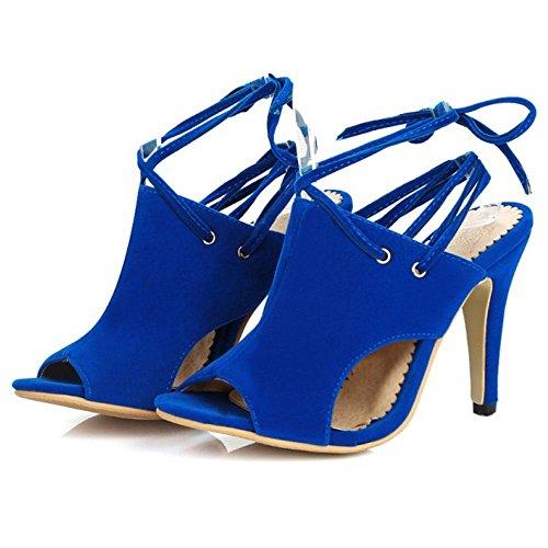 Coolcept Femmes Lacets Sandales Peep Toe blue