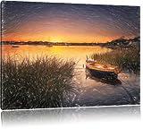 Segelschiffe an der Küste im Sonnenuntergang Kunst Buntstift Effekt, Format: 60x40 auf Leinwand, XXL riesige Bilder fertig gerahmt mit Keilrahmen, Kunstdruck auf Wandbild mit Rahmen, günstiger als Gemälde oder Ölbild, kein Poster oder Plakat