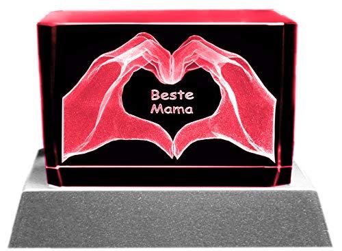 Kaltner Präsente Stimmungslicht - Ein ganz besonderes Geschenk: LED Kerze/Kristall Glasblock / 3D-Laser-Gravur Motiv Beste Mama