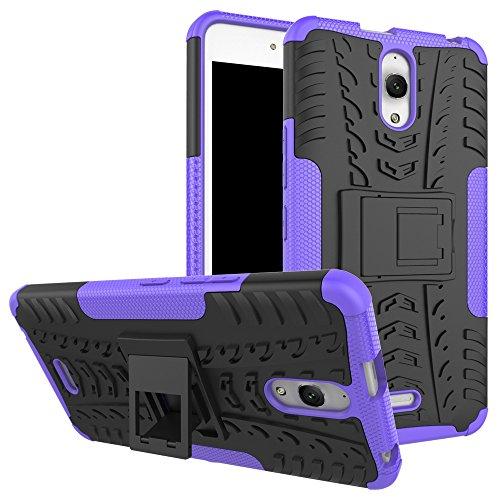 Sunrive Für Alcatel Onetouch Pixi 4 8050D (3G) 6.0 Zoll, Hülle Tasche Schutzhülle Etui Case Cover Hybride Silikon Stoßfest Handyhülle Zwei-Schichte Armor Design schlagfesten Ständer Slim Fall(lila)
