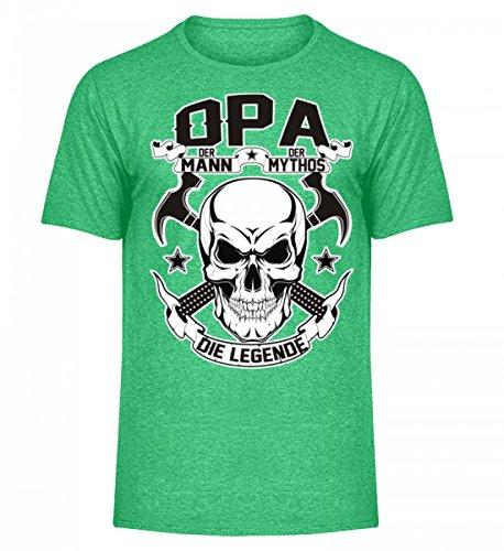 Hochwertiges Herren Melange Shirt - Opa der Mann, der Mythos, die Legende Grün Meliert