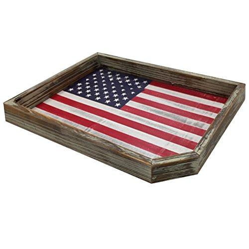 Serviertablett Vintage weiß gekalktem Holz American Flagge USA dekorativen Display aus rustikalem Holz Halter -