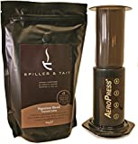 Aerobie AeroPress Coffee Maker & 500g of Spiller & Tait Signature Blend Ground Coffee Gift Box - Top Selling Vacuum Coffee Maker with Award Winning Gourmet Coffee Roasted in the UK - Unique Coffee Gift