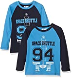 FABTASTICS Jungen Langarm T-Shirt im 2er Pack, Mehrfarbig (Malibu Blue, Peacoat), 122