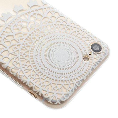 Coque iPhone 7 Plus,Étui iPhone 7 Plus,iPhone 7 Plus Case,ikasus® Coque iPhone 7 Plus Silicone Étui Housse Téléphone Couverture Transparent TPU avec Coloré peinte Motif Mandala de fleurs Ultra Mince P Blanc Mandala Fleur Flower