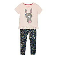 Bluezoo Kids Girls' Light Pink Bunny Applique Top And Leggings Set Age 3-4