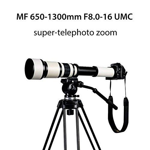 YWNC Tele 650-1300Mm F8.0-16 Super Handbuch Zoom Objektiv + T2 Adapter Für Canon Nikon Sony DSLR & Mirrorless Kameras Astronomischer Spiegel Weiß