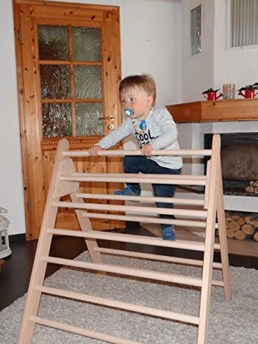 Kletterdreieck nach Art Pikler incl. Kindersicherung, Dreiecksständer klappbares Sprossendreieck Spielzeug, fertig zusammengebaut