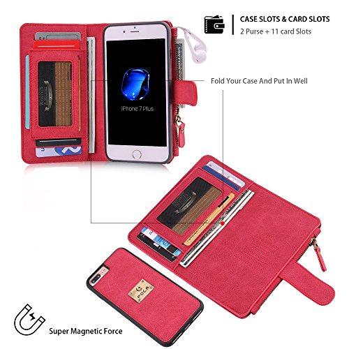 iphone 7 Plus Custodia, iphone 8 Plus Wallet Custodia in pelle,SHANGRUN Multifunzione Custodia a portafoglio in Pelle con Zip Wallet Removibile Magnetica Tasca Case Della Protezione per iPhone 7 Plus/ Rosso