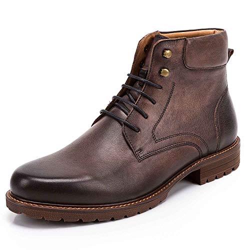 Shoe house Mens Dress Boots Cap Toe Lace up Leather Winter Oxford Casual Comfortable Ankle Combat Boots for Men,Bgray,EU42/US8.5(M)/UK8 Cap Toe Lace Up Cap