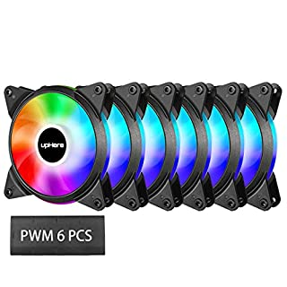 upHere PWM RGB LED 120mm Case Fan For PC Cooling super Silent 6 Pack-Supports ASUS Aura Sync/GIGABYTE RGB Fusion/MSI Mystic Light Sync/AsRock Polychrome Sync-T7SYC7-6