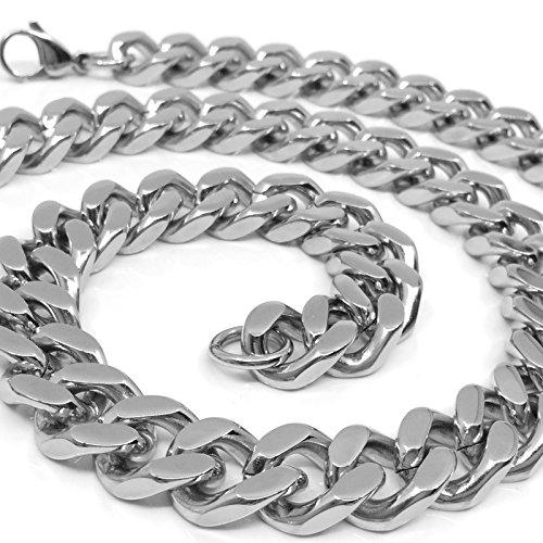 RUGGED STEEL Herren Panzerkette Edelstahl massiv XXL Halskette breit & schwer (14mm / 190g) Karabinerverschluss Farbe Silber hochglanzpoliert (60)