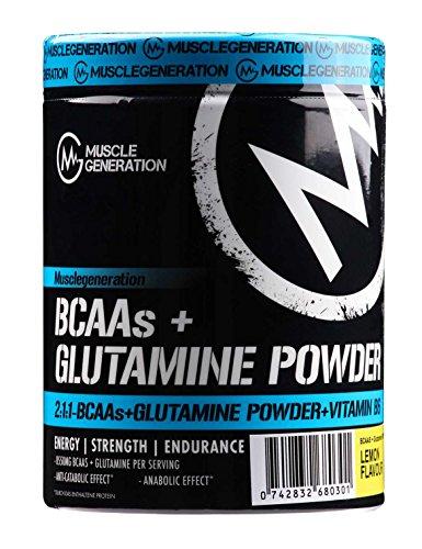 Musclegeneration BCAA-Glutamin Powder 400g   Express BCAA-Einnahme & Glutamin-Einnahme mit optimaler L-Glutamin-Dosierung mit 0,2g L-Glutamin per 1000-mg   leckerer Lemon Geschmack