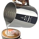 Pichet d'aspirateur en acier inoxydable KimKing - (600ML) Couteau à lave au lait Coupe deux côtés Échelles de mesure pour Cappuccino Expresso Milk Coffee Latte Art Maker
