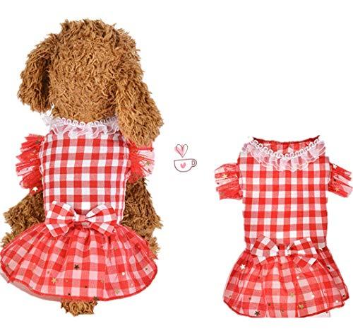 Haustier Kleider Hunde Katze Hemd Kariert Kleidung Sommer Hund Katze Spitze Rock Prinzessin Tutu Kleid Kleidung Kostüm Hundebekleidung Kleine Katze Kleiner Hunde Hemden Shirts Niedlich Dress (XL, Red)
