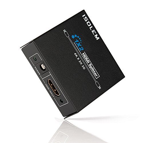 [2Wege] iSolem [4K Ultra HD] 1x 23D HDMI Switch Box (1Input x 2Output)-Splitter HDMI (Blu-ray Player, PS3/PS4, Xbox 360/One, Sky HD, etc) auf 2HD Displays (HDTV/Plasma/LCD/Projektor) -