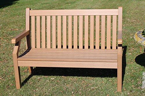Olive Grove Null Wartung Teak-Effekt Polymer 2 Sitzer Gartenbank - Teakholzfarbe