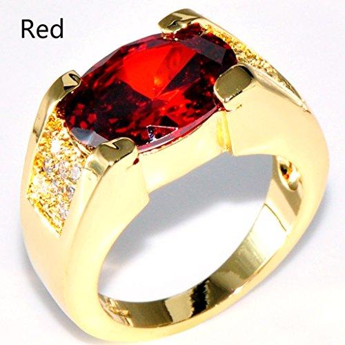 CARDMOE Herren-Ring Edelstahl Rubin Kristalle goldfarben