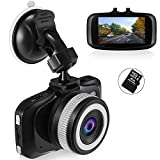 Dash Cam, Foxcesd FHD 1080P Dashcam with 16GB SD Card Front and Rear Dual Lens Compatible 6-Lane & 140° Wide Angle in Car Dash Cam Camera, Built-in G-Sensor, WDR, Loop Recording, Super Night Vision