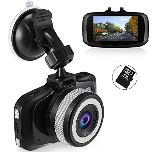 Foxcesd 2.7 '' Mini Auto Kamera 1080P DashCam mit 8GB SD-Karte enthalten, Vorder-und Rückseite Dual-Objektiv-Design In Car Kamera für Autos, 6-Lane & 140 ° Weitwinkel, Eingebauter G-Sensor/ WDR/ Nacht