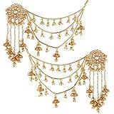 I Jewels Boucles d'oreilles Kundan Jhumki en plaqué or et perles avec chaîne de cheveux pour femmes (E2610FL)