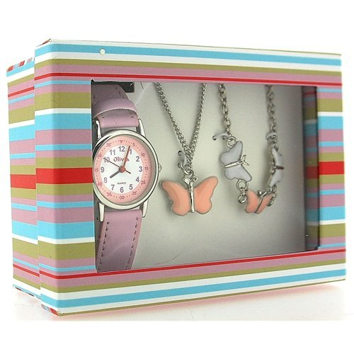 JUEGO DE REGALO PARA NIñAS CON RELOJ Y JOYERIA THE OLIVIA COLLECTION MODELO MARIPOSAS KS002