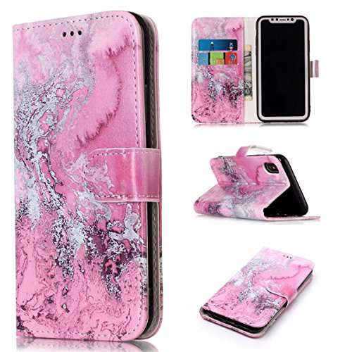 inShang Custodia per iPhone X 5.8 inch con design integrato Portafoglio, iPhoneX 5.8inch case cover con funzione di supporto. + inShang Logo pennino di alta classe Pink sea water