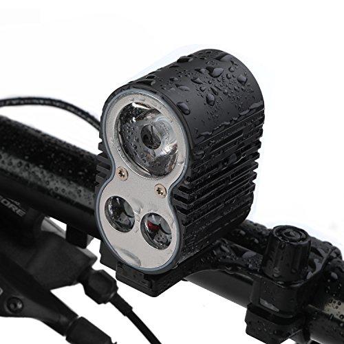 Luz Delantera Bicicleta Impermeable + 10400 mAh Batería, GVDV 2 en 1 USB Recargable y Batería Externa, Multi-Función LED Faro Delantero para Bici, MTB, Moto, Camping, 3pcs CREE XML-T6 LED, 5 Modos, interruptor impermeable diseñado