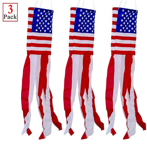 PINCHUANG Windsocke mit US-Flagge, Sterne, Streifen, für Tag und 4. Juli, Dekorationen im Freien (102 cm)