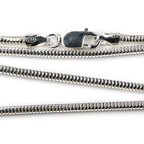 Schlangenkette 1.9mm Stärke aus 925 Sterlingsilber, in verschiedenen Längen erhältlich, Silber Halskette
