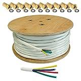 25m HB DIGITAL Quattro-Kabel Koaxial Sat 4-Fach Kabel Weiß 4-in-1 für Ultra HD 4K DVB-S / S2 DVB-C und DVB-T / T2 BK Anlagen + 20 vergoldete F-Stecker Set Gratis dazu (Quattro, Quad Kabel)